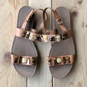 Aerin Essie sandal - tan w/ stones & gold hardware